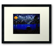 chicago at full moon pastel Framed Print