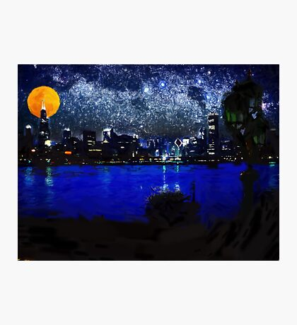 chicago at full moon pastel Photographic Print
