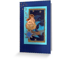 NOSTALGIC CHRISTMAS ANGEL all in blue - MERRY CHRISTMAS Greeting Card