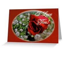 I love You Greeting Card - Red Rose and White Baby's Breath Greeting Card