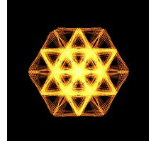LIGHT BEAM STAR OF DAVID SACRED GEOMETRY orange Photographic Print