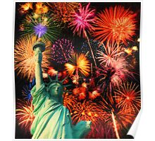 Fireworks by the Statue of Liberty Poster