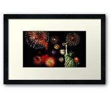 Fireworks by the Statue of Liberty 2 Framed Print