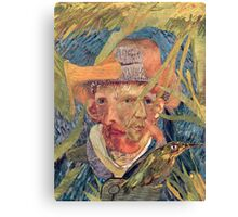 Van Gogh Laying in a Corn Field with Bullet Wound. Canvas Print
