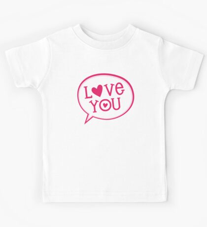 "LOVE BUBBLE modern typography heart ""love you"" Kids Tee"