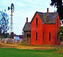 Red Brick Farm House iPad Case by ipadjohn