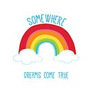 SOMEWHERE OVER THE RAINBOW art bright colourful by Kat Massard