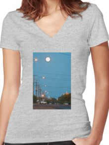 Moon over Lightning Ridge Women's Fitted V-Neck T-Shirt