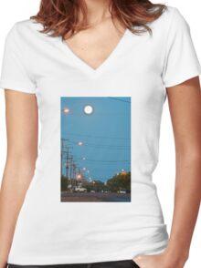 Moon over Lightning Ridge Women's Fitted V-Neck T-Shirt