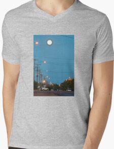 Moon over Lightning Ridge Mens V-Neck T-Shirt
