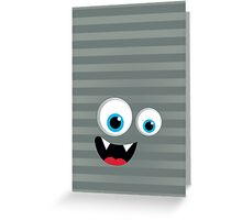 IPhone :: monster face laughing STRIPES - silver + grey Greeting Card