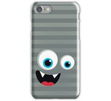 IPhone :: monster face laughing STRIPES - silver + grey iPhone Case/Skin