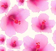 Pink flowers on champagne color by CatchyLittleArt