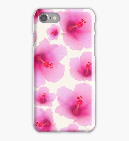Pink flowers on champagne color iPhone Case/Skin