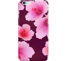 Pink hibiscus blossoms on violet iPhone Case/Skin