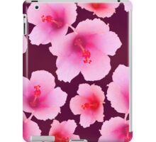 Pink hibiscus blossoms on violet iPad Case/Skin