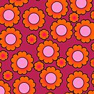 Orange daisies on magenta by CatchyLittleArt