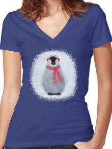 Chilly Little Penguin Women's Fitted V-Neck T-Shirt