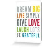 LIFE MANTRA positive cool typography bright colors Greeting Card
