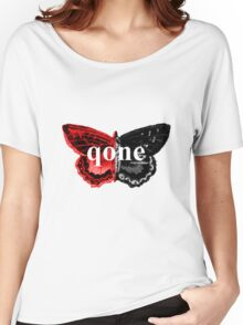 Animal Logo Series - qone - Red on Black Butterfly Women's Relaxed Fit T-Shirt
