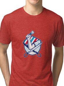 Barber Hand Holding Brush Scissors Shield Retro  Tri-blend T-Shirt