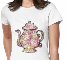 Watercolored Teapot Womens Fitted T-Shirt