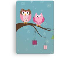 Two cute owls on the tree branch Canvas Print