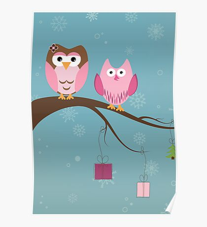 Two cute owls on the tree branch Poster