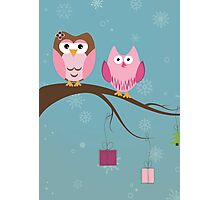 Two cute owls on the tree branch Photographic Print