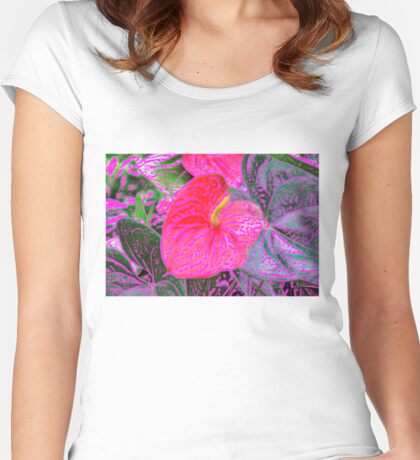 Anthurium in Colour Women's Fitted Scoop T-Shirt