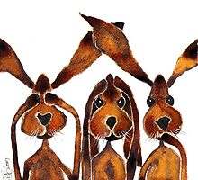 SEE NO EVIL, HEAR NO EVIL, SPEAK NO EVIL  by Hares & Critters