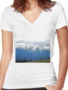 Olympic Mountains at Hurricane Ridge Women's Fitted V-Neck T-Shirt