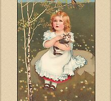 Girl with Cat General Greetings by Yesteryears