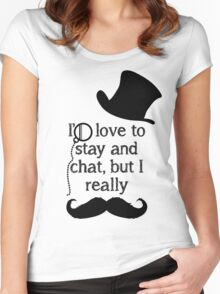 i'd love to stay but i really mustache (black) Women's Fitted Scoop T-Shirt
