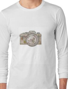 MAP OF THE WORLD ON CAMERA Long Sleeve T-Shirt
