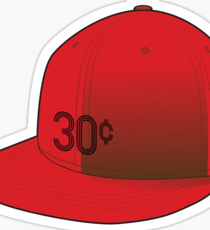 """30¢"" Red Cap Sticker"