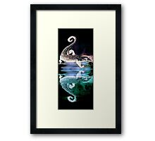 Monitor Lizard Reflection on Black Framed Print