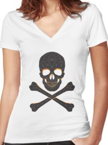 Skull and crossbones  danger warning  Women's Fitted V-Neck T-Shirt