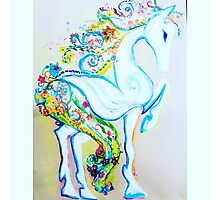 Floral horse Photographic Print