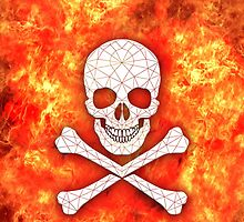 Skull and crossbones red danger warning by mikath