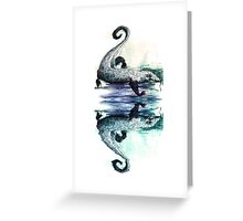 Monitor Lizard Reflection on White Greeting Card