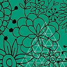Emerald green floral background by mikath