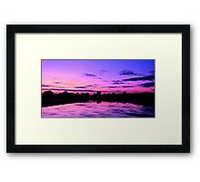 Purple and blue sunset scene Framed Print