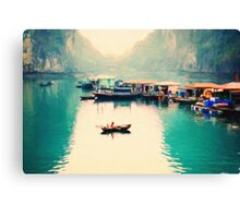 View Of Tourist Boats In Halong Bay, Vietnam Canvas Print