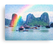 Heavenly cove and land of rainbow Canvas Print