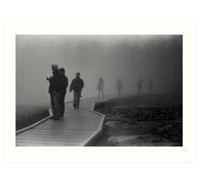 Walking in the Mist in Yellowstone Art Print
