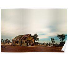 Corrugated Church with Caravan, Lightning Ridge, Australia Poster
