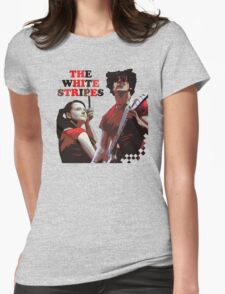 white stripes Womens Fitted T-Shirt