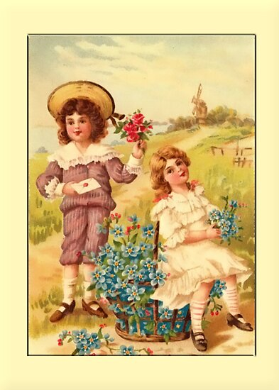 Children with Flowers Greeting Card by Yesteryears