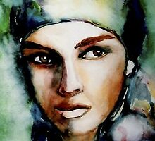 watercolor painting of woman by MaryKWood